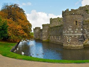 View of Beaumaris Castle and moat Anglesey North Wales