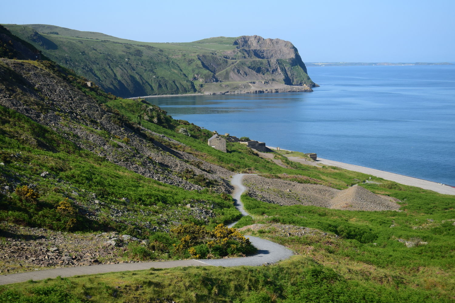 Wales Coast Path Nant Gwrtheryn Llithfaen Llyn Peninsula. Path to beach and coast