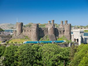 View of Conwy Castle with train