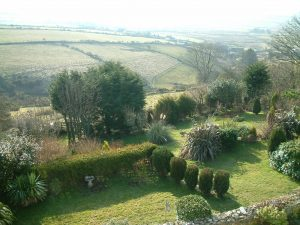 View of the garden from the main bedroom of Gors-lwyd Cottage Llithfaen Llyn Peninsula North Wales