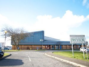 A view of Pwllheli Leisure Centre Canolfan Hamdden Dwyfor swimming gym football tennis