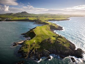 Aerial view of the golf course at Nefyn and District Golf Club Llyn Peninsula North Wales