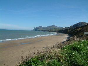 View of Nefyn beach and Yr Eifl in the distance Nefyn Llyn Peninsula North Wales