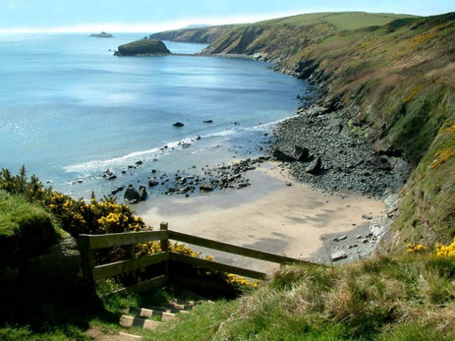 A view of the beach Porth Ysgo from the steps to the beach Llyn Peninsula Wales Coast Path