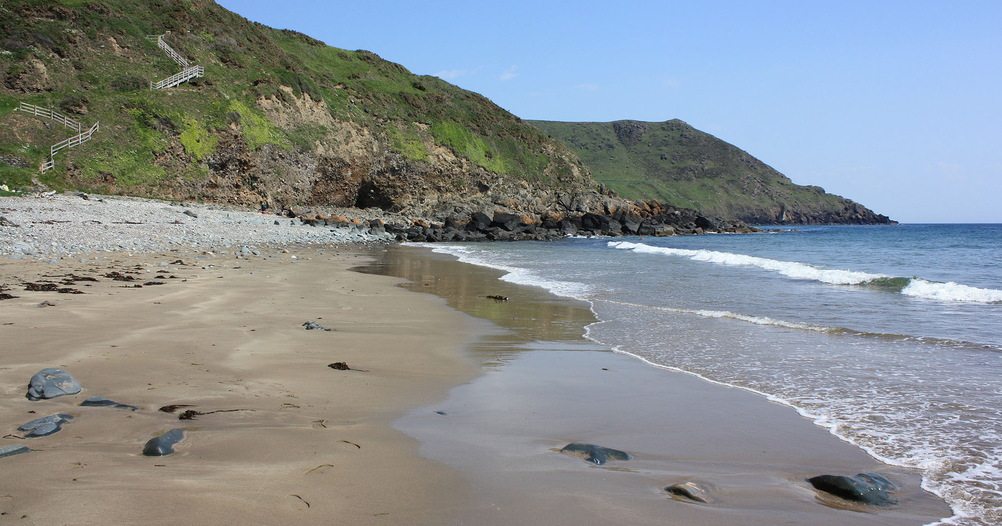 Porth Ysgo with steep steps
