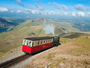 View of steam train to the summit of Mount Snowdon narrow gauge railway North Wales