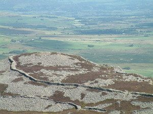 A view of Trer Ceiri iron age hillfort from the summit of Yr Eifl Llithfaen Llyn Peninsula North Wales