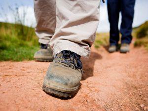 A walker in walking boots