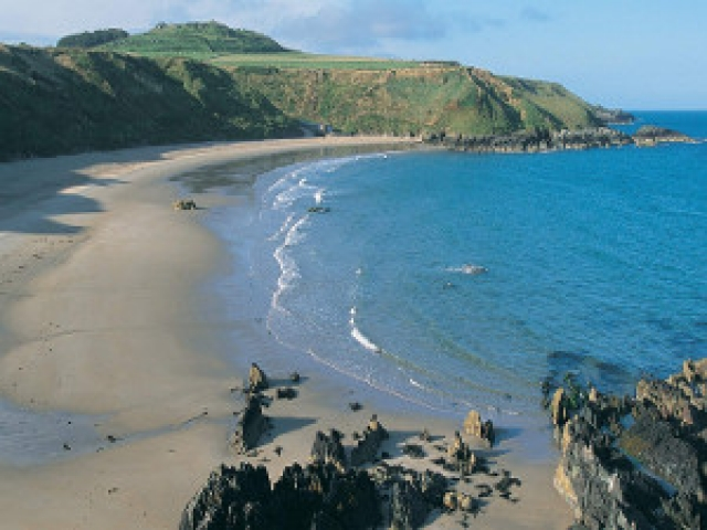 View of the beach at Porthor Porth Oer Whistling Sands