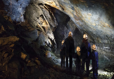 Family on the Deep Mine Tour at Llechwedd Slate Caverns Blaenau Ffestiniog North Wales