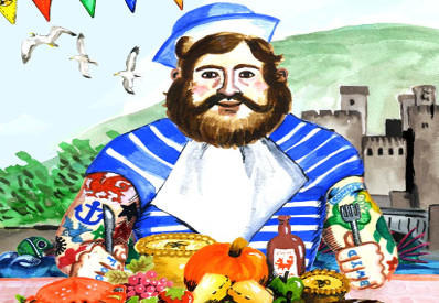 Conwy Feast Food festival logo. Drawing of man ready to eat food at the Conwy feast