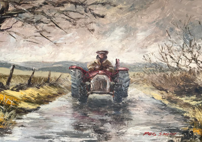 Painting of a tractor on a country lane on the Llyn Peninsula. Bought from the Victoria, Llithfaen (now Tafarn y Fic)