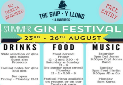Ship Inn llanbedrog summer gin festival details