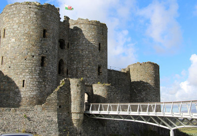 View of Harlech Castle with foot bridge